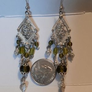 Long silver & green dangle earrings